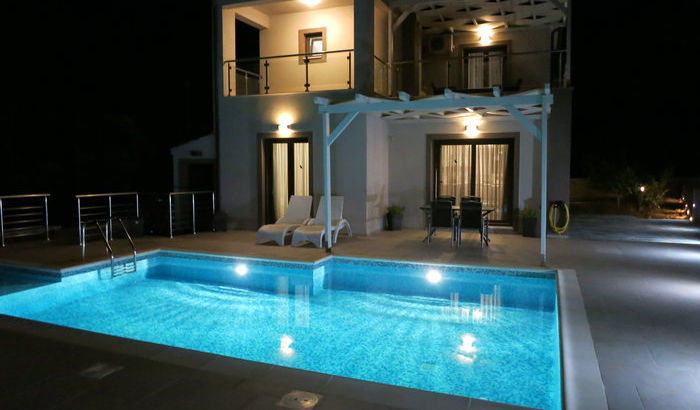 Night shot of Villa Eos